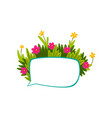 colorful empty speech bubble with flowers and vector image vector image
