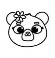 cute animal bear face with flower cartoon thick vector image vector image