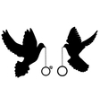 doves rings silhouette vector image vector image