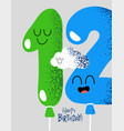 funny happy birthday gift card number 12 balloons vector image