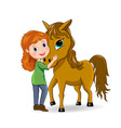 Girl and horse vector image vector image