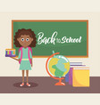 girl with pencils colors and global map vector image vector image