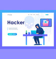 hacker working on a laptop cyber fraud email vector image