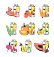 hand drawn summer set of fruits vegetables and vector image