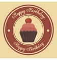 happy birthday cupcake isolated icon design vector image vector image