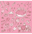 Happy birthday set pink vector image