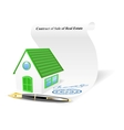 House with contract of sale of real estate vector image