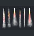 launch rocket smoke aircraft flying effect fog vector image vector image