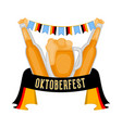 oktoberfest label with beers and flags vector image vector image