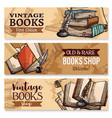 old book with feather pen and inkwell banner set vector image vector image