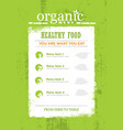 organic paleo rough food menu concept eco green vector image