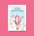 poster template with baby shower design concept vector image vector image