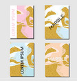 rose gold blue marble covers flyer design vector image vector image