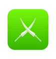 samurai swords icon digital green vector image vector image