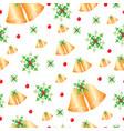 seamless pattern - christmas bells and mistletoe vector image