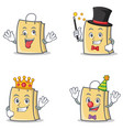 set of bag character with crazy magician king vector image vector image