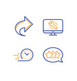 Share monitor repair and fast delivery icons set