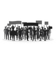 silhouette black protesting crowd vector image vector image