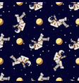 space print flat funny flying astronaut in space vector image vector image