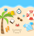 Summer Time Background with Flat Set Colorful vector image