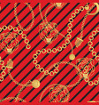 tiger head and gold chains striped red pattern vector image
