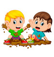 two kids playing in the mud vector image