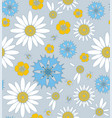 wildflowers cornflowers and chamomile with ladybug vector image