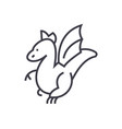 winged dragon concept thin line icon vector image vector image
