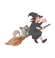 witch and cat riding on a broomstick vector image vector image