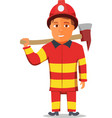 Cartoon Firefighter Character isolated on white vector image