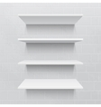 Four white realistic shelves against brick wall vector image