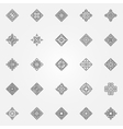 Ethnic geometric icons set vector image