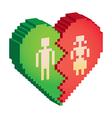 broken heart 3d pixels vector image