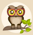 a funny owl in glasses sitting on a branch vector image