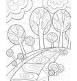 adult coloring bookpage a cute abstract landscape vector image vector image