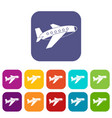 airplane icons set flat vector image vector image