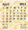 april 2013 calendar albino snake skin vector image vector image