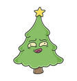awkward funny christmas tree cartoon character vector image vector image