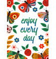 basic rgbposter with butterflies and flowers vector image
