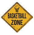basketball zone vintage rusty metal sign vector image