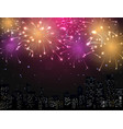 Beautiful Fireworks display with city skyline vector image vector image