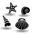 black sea shells icon set collection of seashell vector image