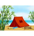 Camping at the beach vector image vector image