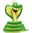cartoon a green snake vector image vector image