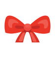 cartoon cute gift bow with ribbons red color vector image vector image