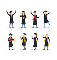 cartoon graduation of happy students set vector image