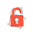 cartoon lock icon in comic style padlock locker vector image vector image