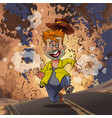 cartoon man running away from an explosion on the vector image vector image