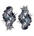chicano girls wearing crown and baseball cap vector image vector image