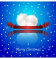 Christmas card with a red banner and white vector image vector image